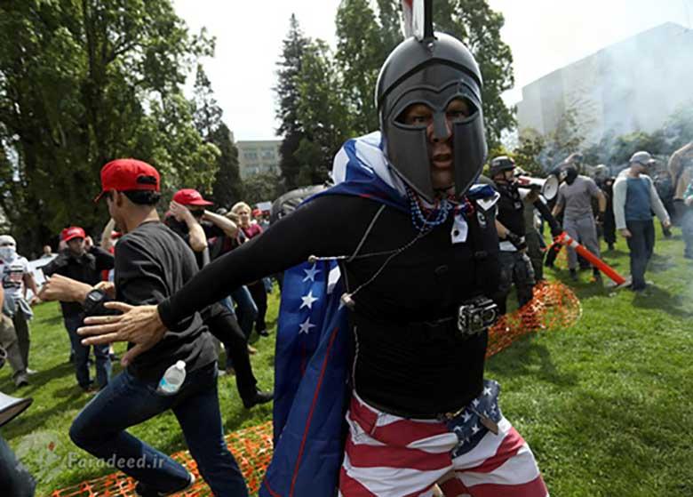 زد و خورد شدید مخالفان و هواداران ترامپ