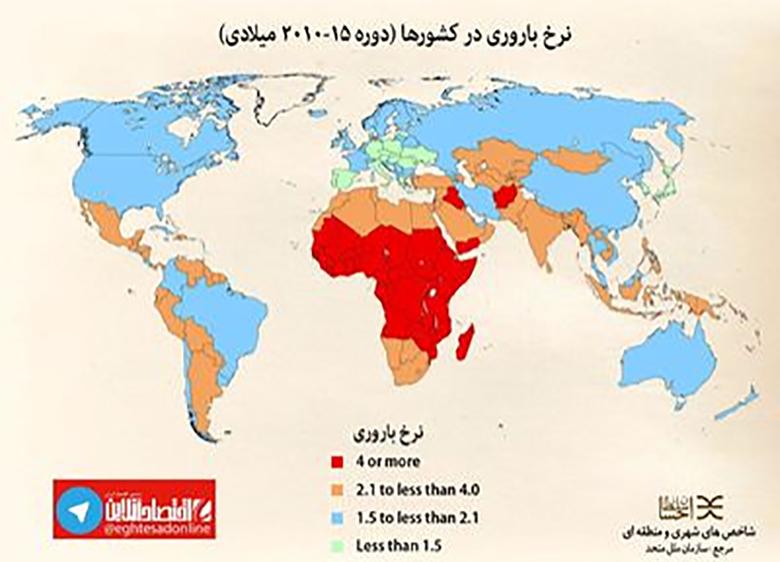 بررسی نرخ باروری در ایران و جهان +نمودار