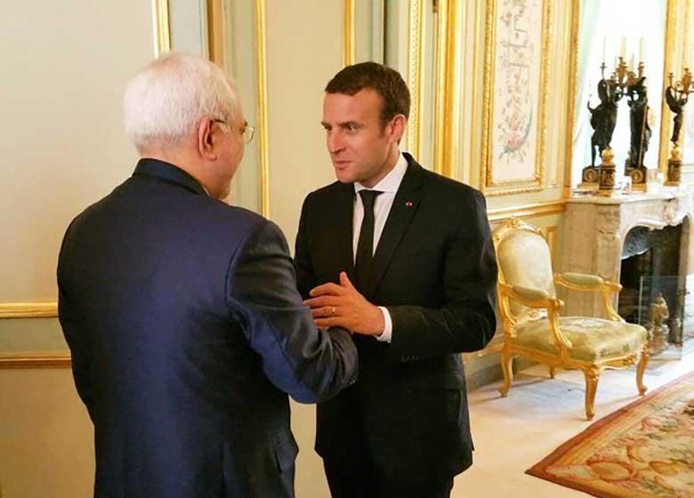 دیدار ظریف با رییسجمهور فرانسه