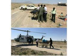 پرواز بالگرد اورژانس هوایی شاهرود برای امداد رسانی به حادثهدیدگان واژگونی خودرو