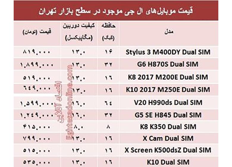 قیمت انواع موبایلهای ال جی در بازار؟ +جدول