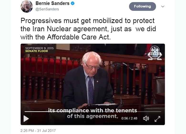 سندرز: توافق هسته ای با ایران را باید حفظ کنیم