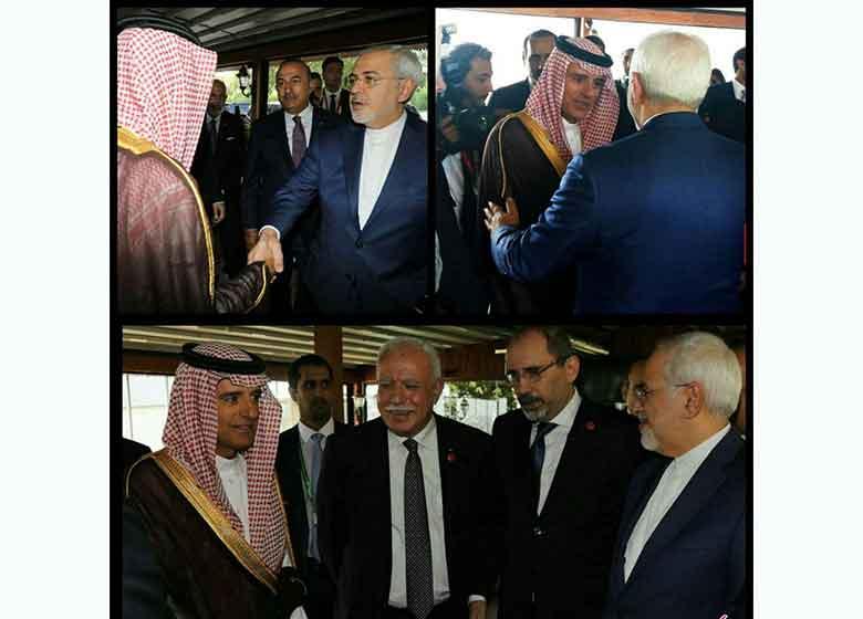 وزير خارجه عربستان، ظريف را در آغوش كشيد / گفتگوی ظریف و الجبیر