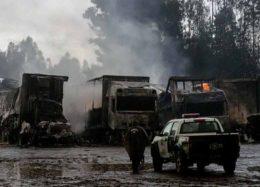 آتش گرفتن ۱۸ دستگاه کامیون در شیلی