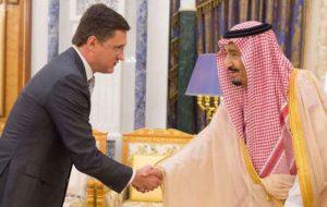 دیدار الکساندر نواک وزیر انرژی روسیه با پادشاه عربستان