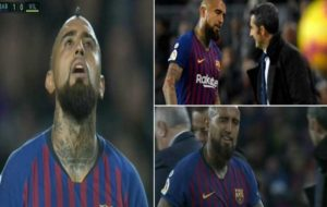 هواداران بارسلونا طرف ویدال را گرفتند و والورده را هو کردند