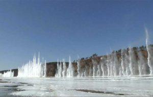 انفجار رودخانه یخی برای جلوگیری از سیل در چین