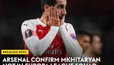 مخیتاریان آرسنال را در فینال لیگ اروپا همراهی نمیکند