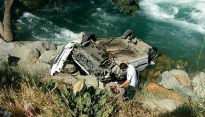 سقوط خودروی پراید در جاده چالوس/ نجات معجزهآسای هر سه سرنشین