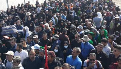 ازدحام جمعیت زوار اربعین در مرز شلمچه غوغا است