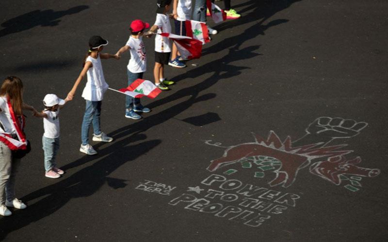 301 6 معترضان, لبنان, زنجیره انسانی