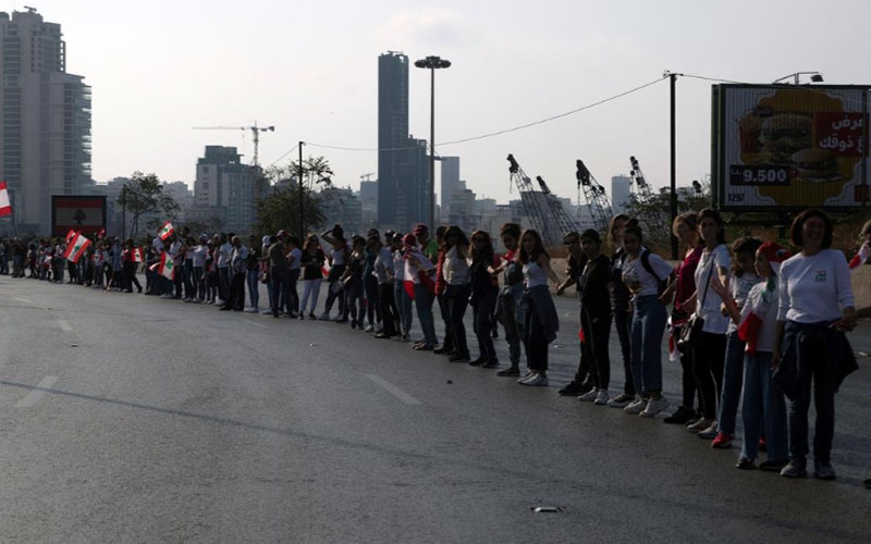 302 5 معترضان, لبنان, زنجیره انسانی