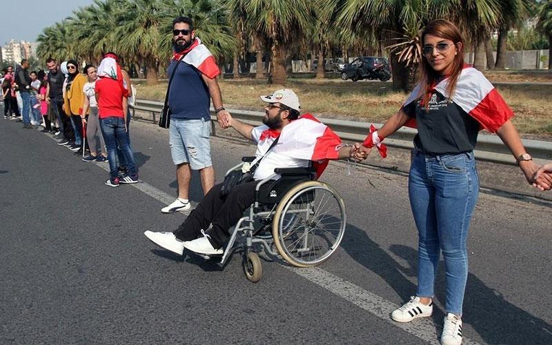 309 5 معترضان, لبنان, زنجیره انسانی