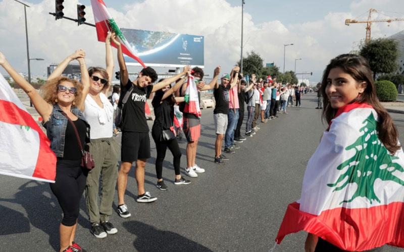 313 4 معترضان, لبنان, زنجیره انسانی