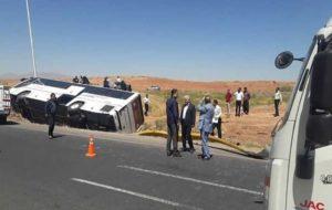 تصادف یک اتوبوس بین شهری با موتورسوار