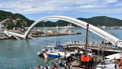 فیلمی از ریزش وحشتناک یک پل در تایوان