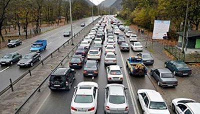 انسداد جاده هراز به دلیل تعمیرات جادهای