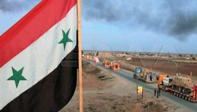 حرکت یک کاروان بزرگ از نیروهای آمریکا از سوریه به طرف عراق مناطق مرزی, نیروهای آمریکایی, شمال سوریه