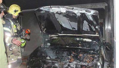 خودروی سواری در آتش سوخت