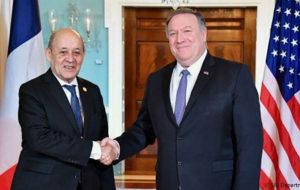 رایزنی ضد ایرانی پامپئو با همتای فرانسوی در واشنگتن