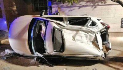 له شدن تیگو ۵ پس از تصادف با ۲ خودرو