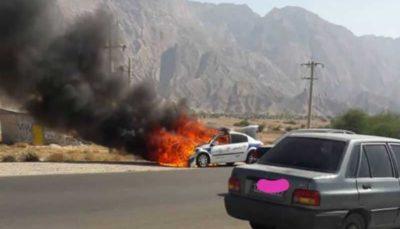ماجرای آتش گرفتن خودروی پلیس در بوشهر چه بود