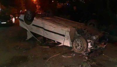 واژگونی خودروی سواری در حوالی میدان پونک تهران
