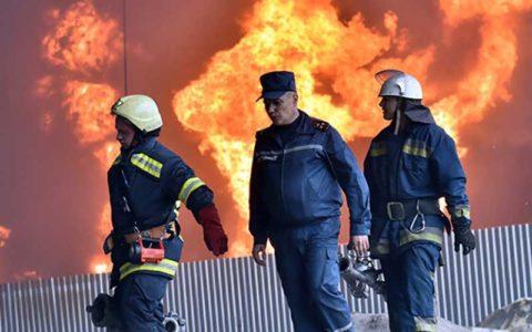 ساختمان یک کالج در اوکراین طعمه حریق شد