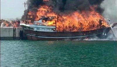 آتش سوزی چهار لنج صیادی در جاسک (فیلم)