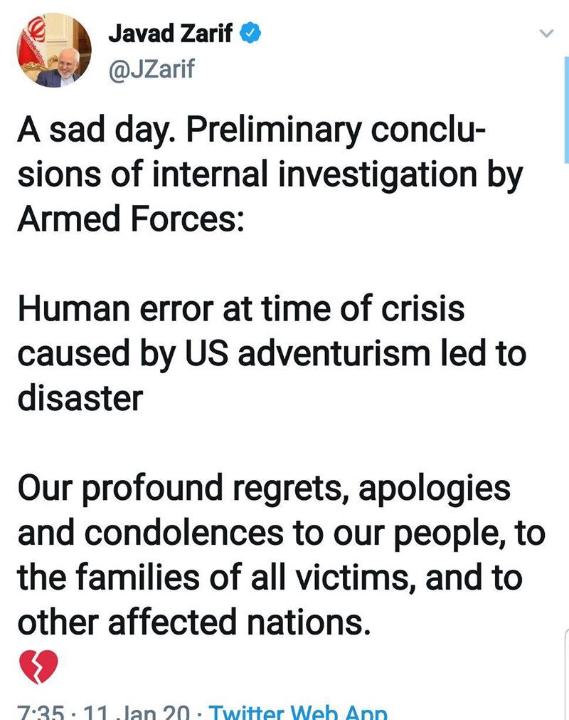 توییت ظریف درباره نتایج علل سقوط هواپیمای اوکراینی