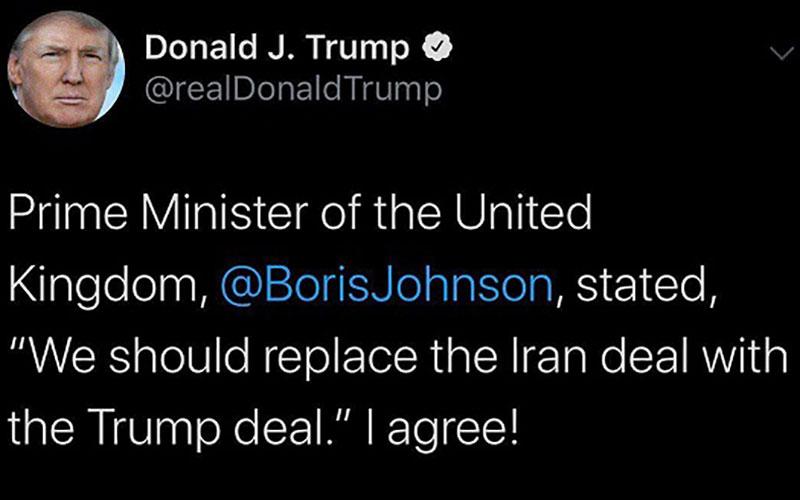 استقبال ترامپ از پیشنهاد برجامینخست وزیر انگلیس