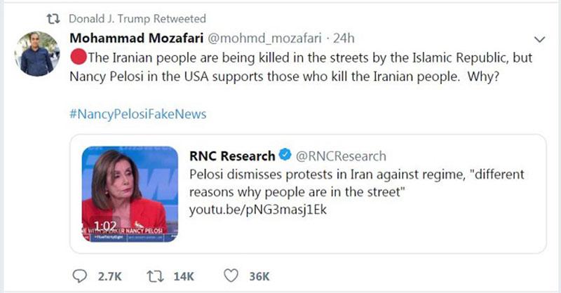 بازنشر توییتهای برخی کاربران ایرانی توسط ترامپ