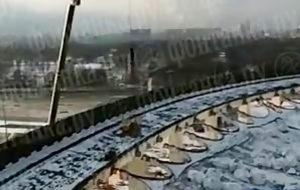 تصاویری از لحظه فرو ریختن سقف ورزشگاه سن پترزبورگ