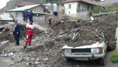 سقوط سنگ 30 مترمکعبی در روستای پیتسرای سوادکوه