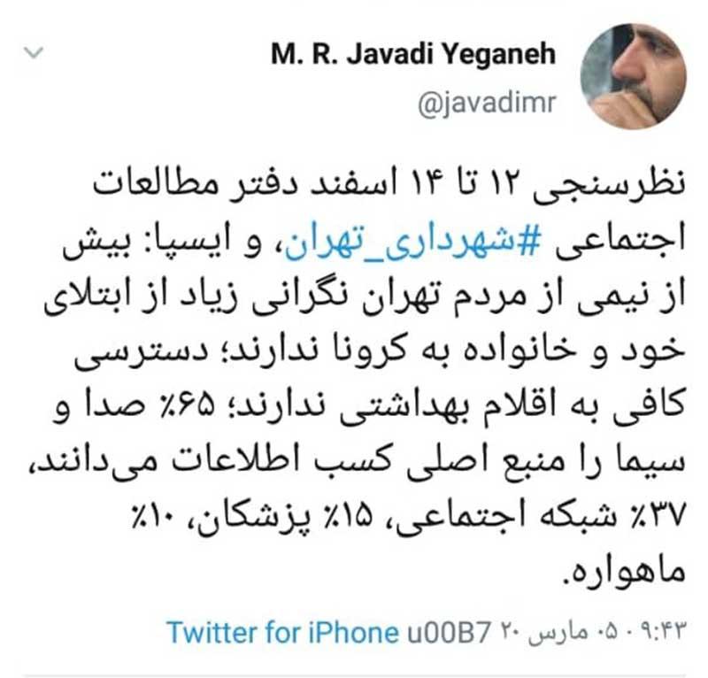 نیمیاز مردم تهران نگران ابتلا به کرونا نیستند