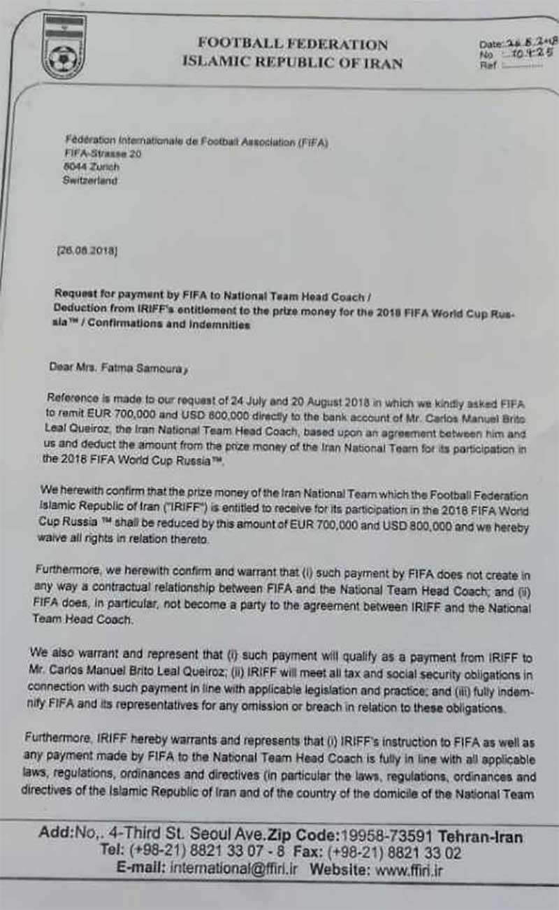 فدراسیون فوتبال: حتی یک دلار مازاد بر قرارداد به کی روش پرداخت نکردیم/تصاویر
