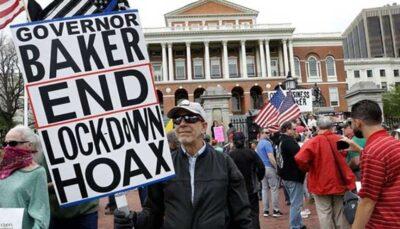 تجمع صدها آمریکایی در بوستون علیه تداوم محدودیتهای کرونایی