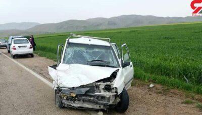 راننده این پراید به خاطر تصادف با سگ، جان باخت