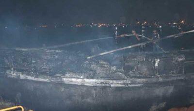 تصاویر جدید از آتش سوزی ۷ لنج در بندرکنگ/فیلم