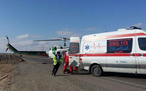 مرگ راننده پراید در تصادف با کامیون در شاهرود/انتقال 2 زن مصدوم با بالگرد