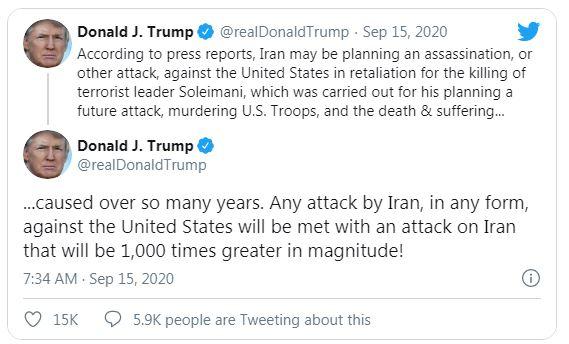 گندهگویی ترامپ علیه ایران: هر حملهای را ۱۰۰۰ برابر پاسخ میدهیم