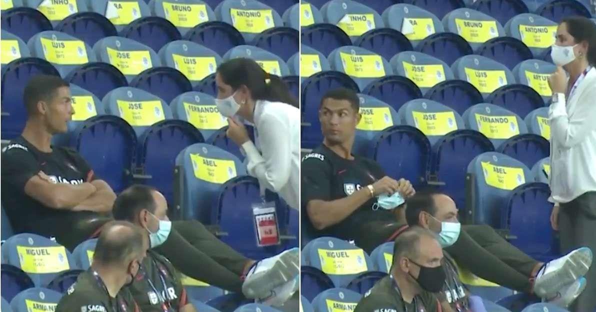 تذکر به رونالدو بابت عدم استفاده از ماسک در ورزشگاه / عکس