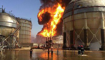 انفجار و آتش سوزی در واحد آروماتیک پتروشیمی بندرامام/ فیلم