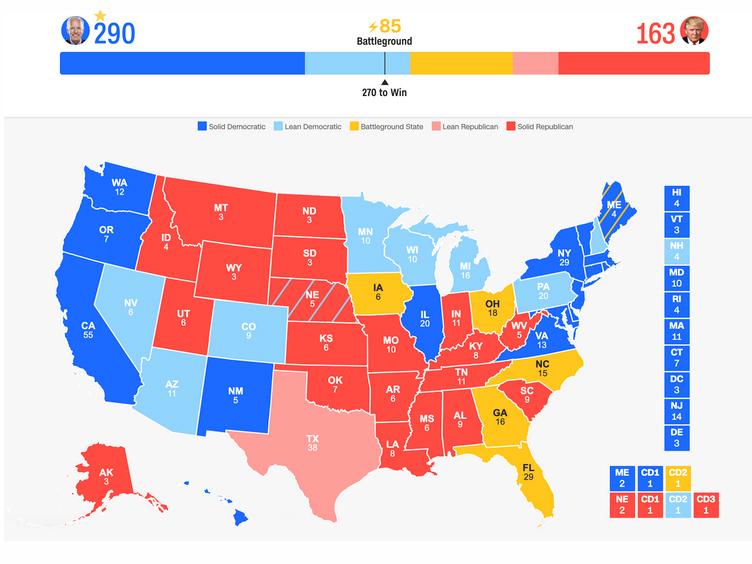 آخرین وضعیت رقابت ترامپ و بایدن / نقشه