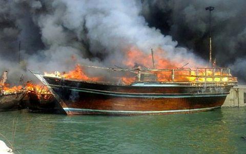 آتشسوزی کشتی مسافربری در مسیر گناوه به خارگ