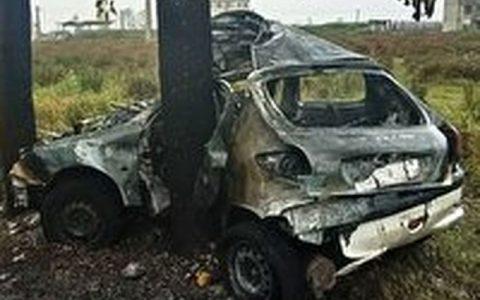 زنده زنده سوختن جوان رشتی در پژو 206 آتش گرفتن خودرو, رشت
