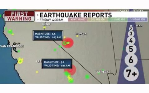 وقوع زمینلرزه در نوادا و کالیفرنیا به فاصله 30 ثانیه از یکدیگر نوادا و کالیفرنیا, زلزله