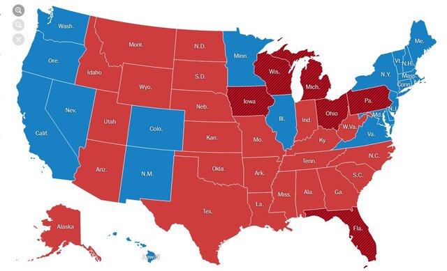 61771642 نتایج شمارش آرای, انتخابات آمریکا