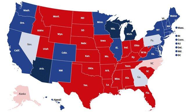61773331 نتایج شمارش آرای, انتخابات آمریکا