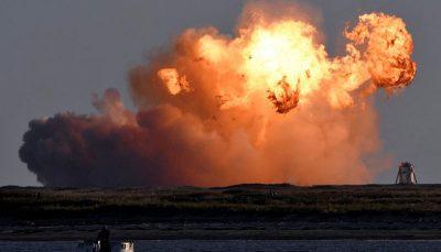 انفجار موشک ستارهپیمای اسپیس ایکس در لحظه فرود